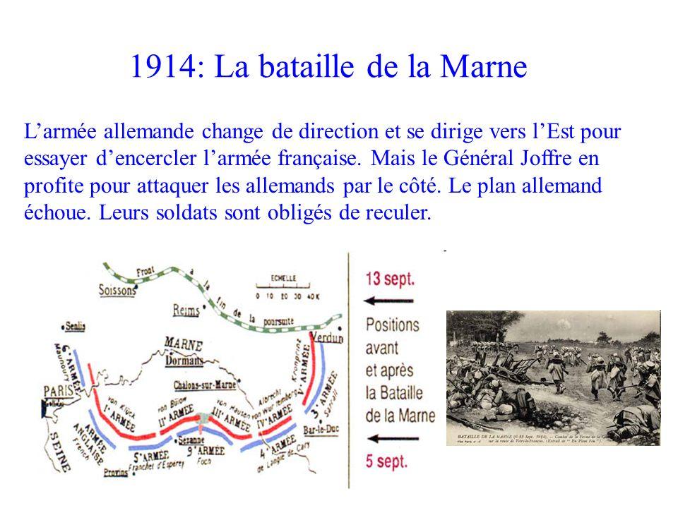 Larmée allemande change de direction et se dirige vers lEst pour essayer dencercler larmée française. Mais le Général Joffre en profite pour attaquer