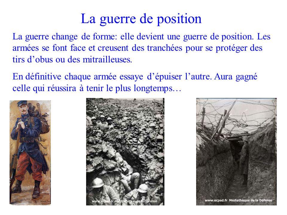 La guerre change de forme: elle devient une guerre de position. Les armées se font face et creusent des tranchées pour se protéger des tirs dobus ou d