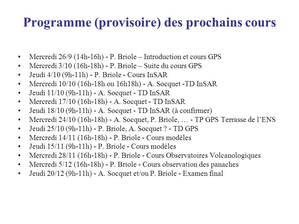 Programme (provisoire) des prochains cours Mercredi 26/9 (14h-16h) - P. Briole – Introduction et cours GPS Mercredi 3/10 (16h-18h) - P. Briole – Suite