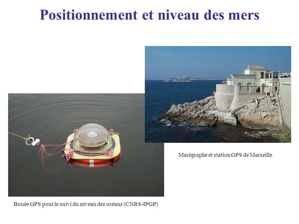 Positionnement et niveau des mers Bouée GPS pour le suivi du niveau des océans (CNRS-IPGP) Marégraphe et station GPS de Marseille