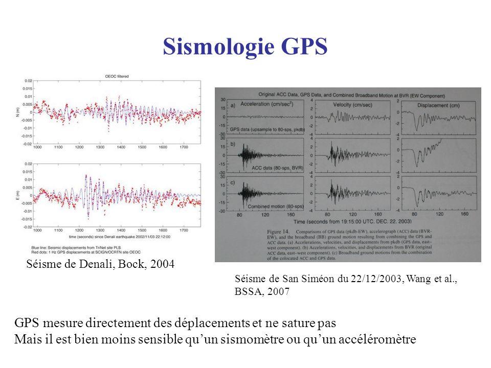 Sismologie GPS Séisme de Denali, Bock, 2004 GPS mesure directement des déplacements et ne sature pas Mais il est bien moins sensible quun sismomètre o