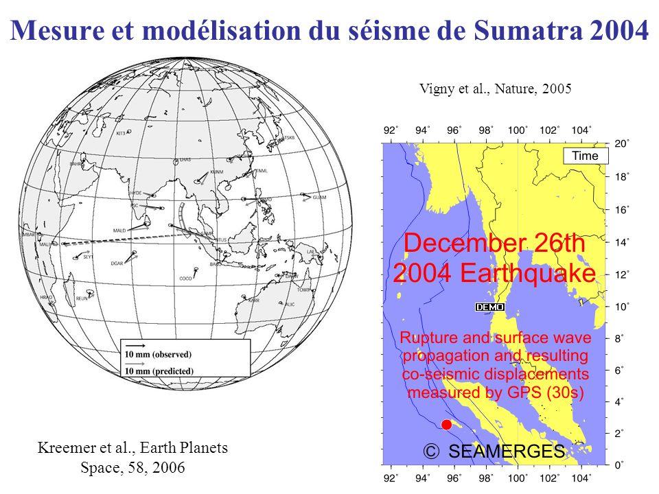Mesure et modélisation du séisme de Sumatra 2004 Kreemer et al., Earth Planets Space, 58, 2006 Vigny et al., Nature, 2005