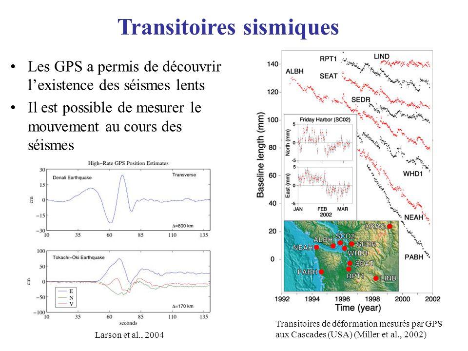 Transitoires sismiques Les GPS a permis de découvrir lexistence des séismes lents Il est possible de mesurer le mouvement au cours des séismes Transit