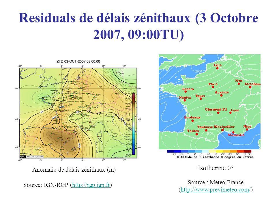 Residuals de délais zénithaux (3 Octobre 2007, 09:00TU) Source: IGN-RGP (http://rgp.ign.fr)http://rgp.ign.fr Source : Meteo France (http://www.previme