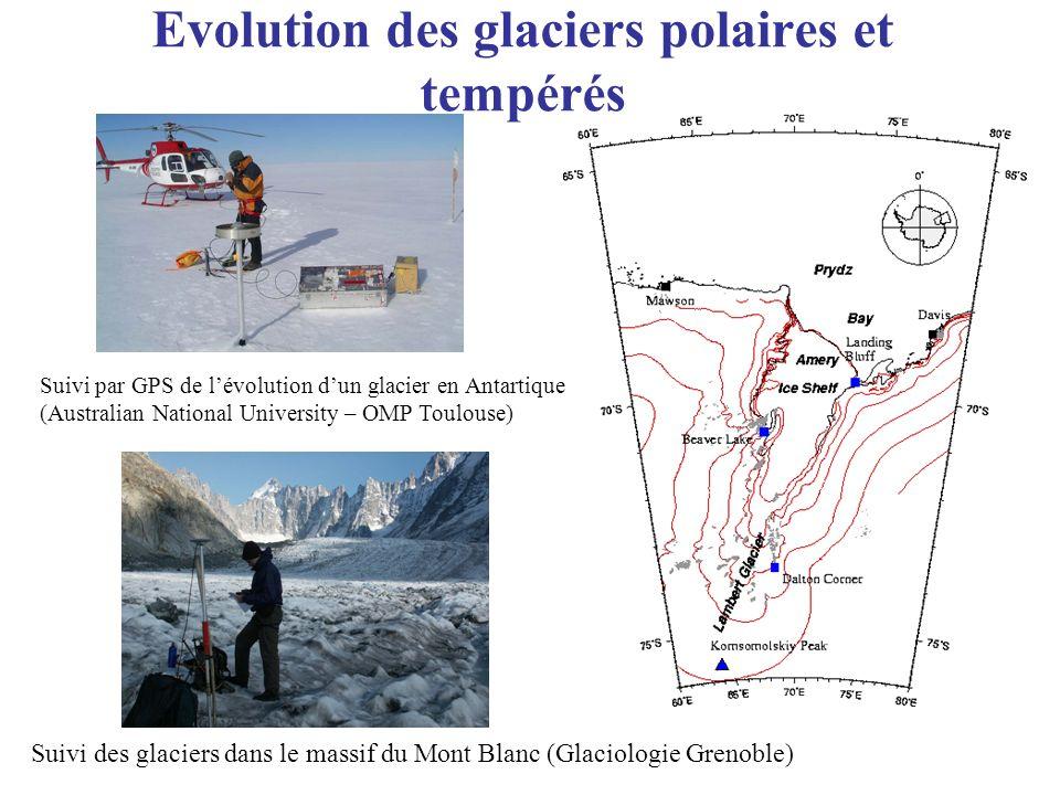 Evolution des glaciers polaires et tempérés Suivi par GPS de lévolution dun glacier en Antartique (Australian National University – OMP Toulouse) Suiv