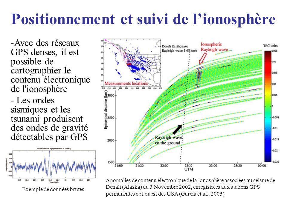 Positionnement et suivi de lionosphère Anomalies de contenu électronique de la ionosphère associées au séisme de Denali (Alaska) du 3 Novembre 2002, e