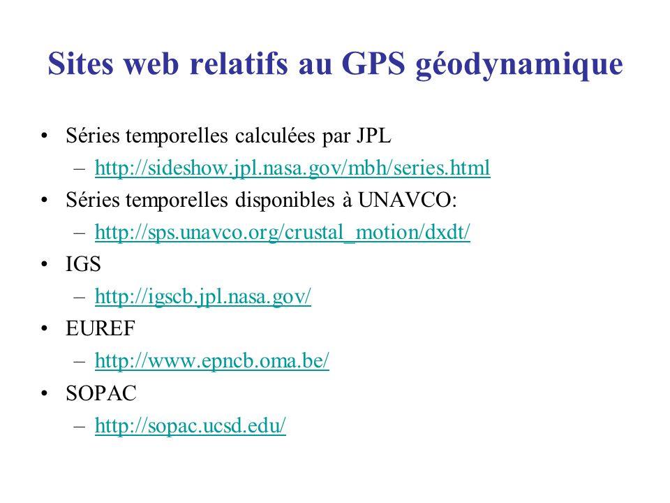 Sites web relatifs au GPS géodynamique Séries temporelles calculées par JPL –http://sideshow.jpl.nasa.gov/mbh/series.htmlhttp://sideshow.jpl.nasa.gov/