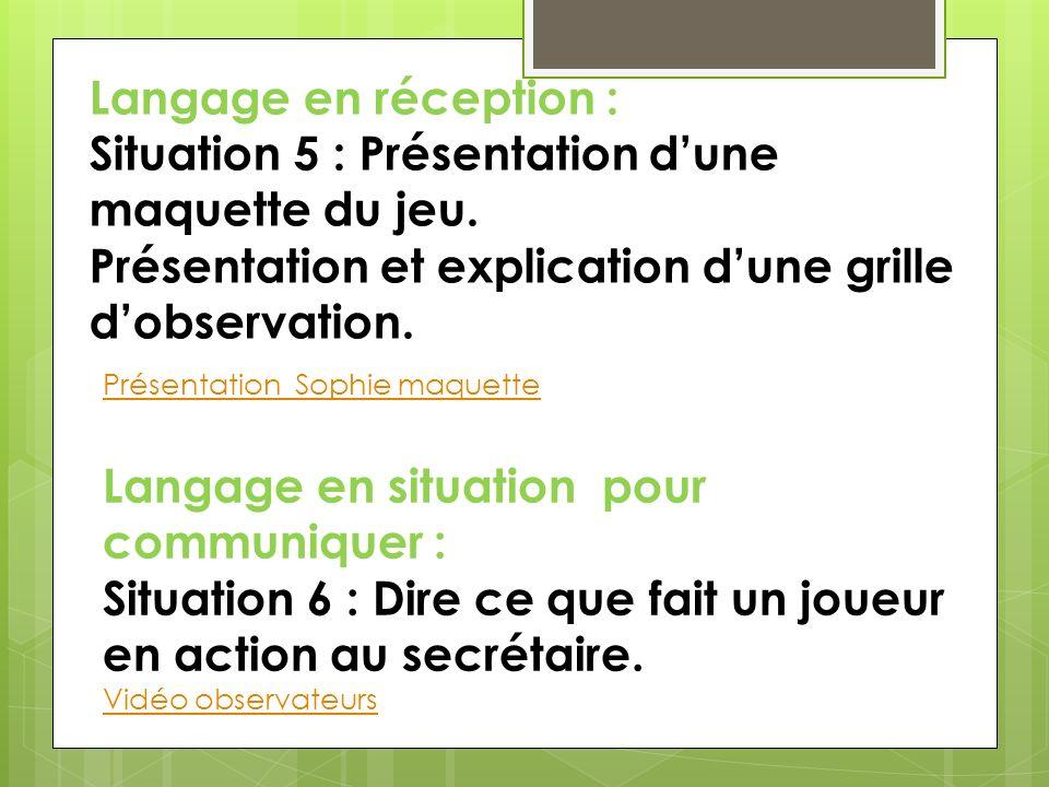 Langage pour comprendre : Situation 7 : Analyse des grilles dobservation.