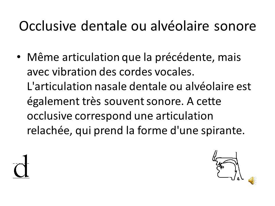 Occlusive dentale ou alvéolaire sonore Même articulation que la précédente, mais avec vibration des cordes vocales. L'articulation nasale dentale ou a