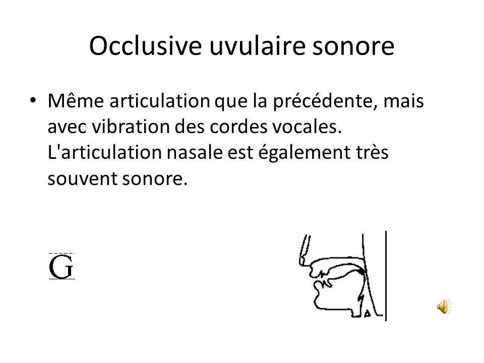 Occlusive uvulaire sonore Même articulation que la précédente, mais avec vibration des cordes vocales. L'articulation nasale est également très souven