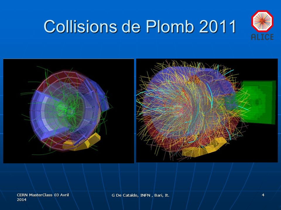 Collisions de Plomb 2011 CERN MasterClass 03 Avril 2014 G De Cataldo, INFN, Bari, It. 4