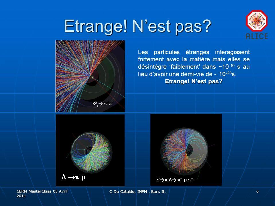 Etrange. Nest pas. CERN MasterClass 03 Avril 2014 G De Cataldo, INFN, Bari, It.