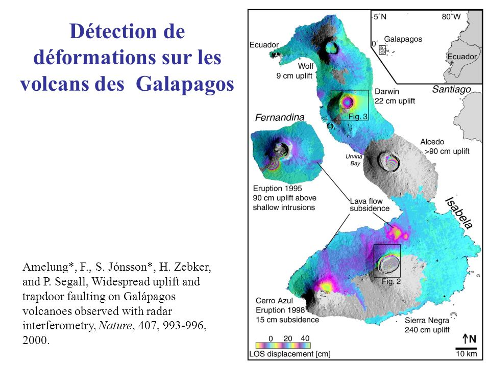 Détection de déformations sur les volcans des Galapagos Amelung*, F., S. Jónsson*, H. Zebker, and P. Segall, Widespread uplift and trapdoor faulting o
