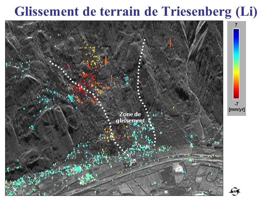 Glissement de terrain de Triesenberg (Li) -7 [mm/yr] 7 Zone de glissement