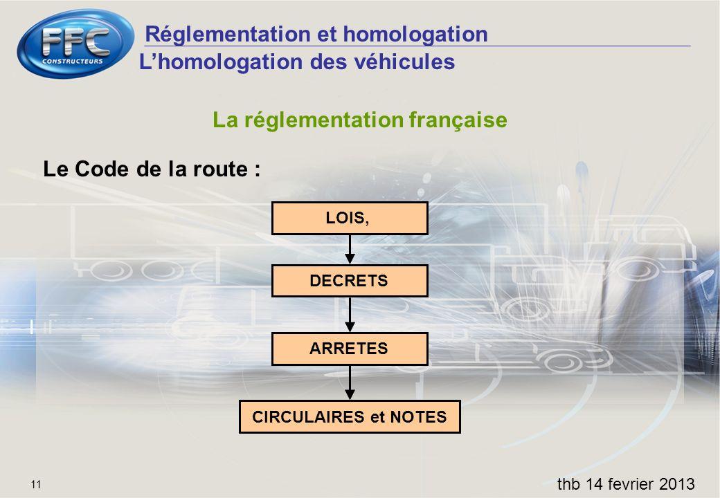 Réglementation et homologation thb 14 fevrier 2013 11 La réglementation française Le Code de la route : Lhomologation des véhicules LOIS, DECRETS ARRE