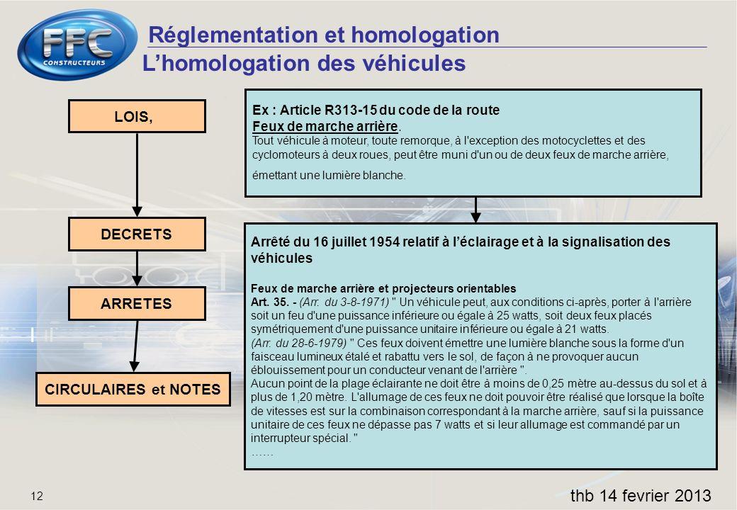 Réglementation et homologation thb 14 fevrier 2013 12 Lhomologation des véhicules LOIS, DECRETS ARRETES CIRCULAIRES et NOTES Ex : Article R313-15 du c