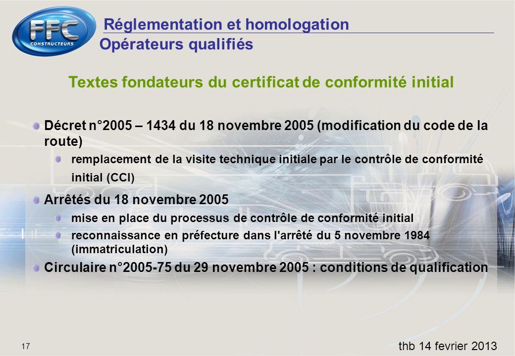 Réglementation et homologation thb 14 fevrier 2013 17 Opérateurs qualifiés Textes fondateurs du certificat de conformité initial Décret n°2005 – 1434