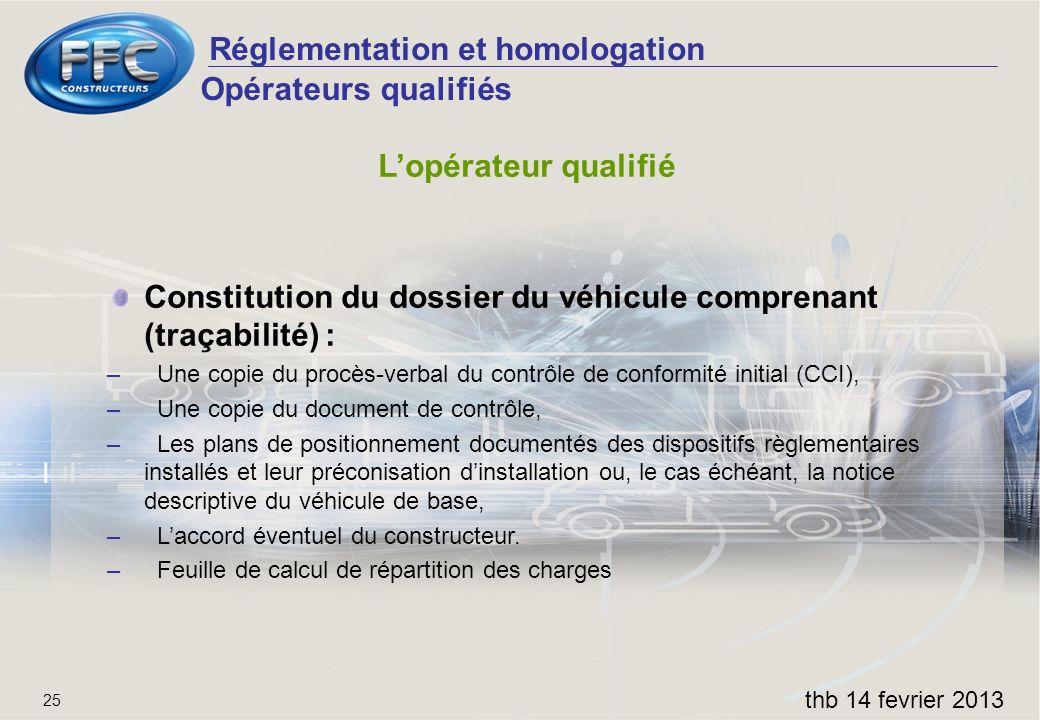 Réglementation et homologation thb 14 fevrier 2013 25 Opérateurs qualifiés Lopérateur qualifié Constitution du dossier du véhicule comprenant (traçabi