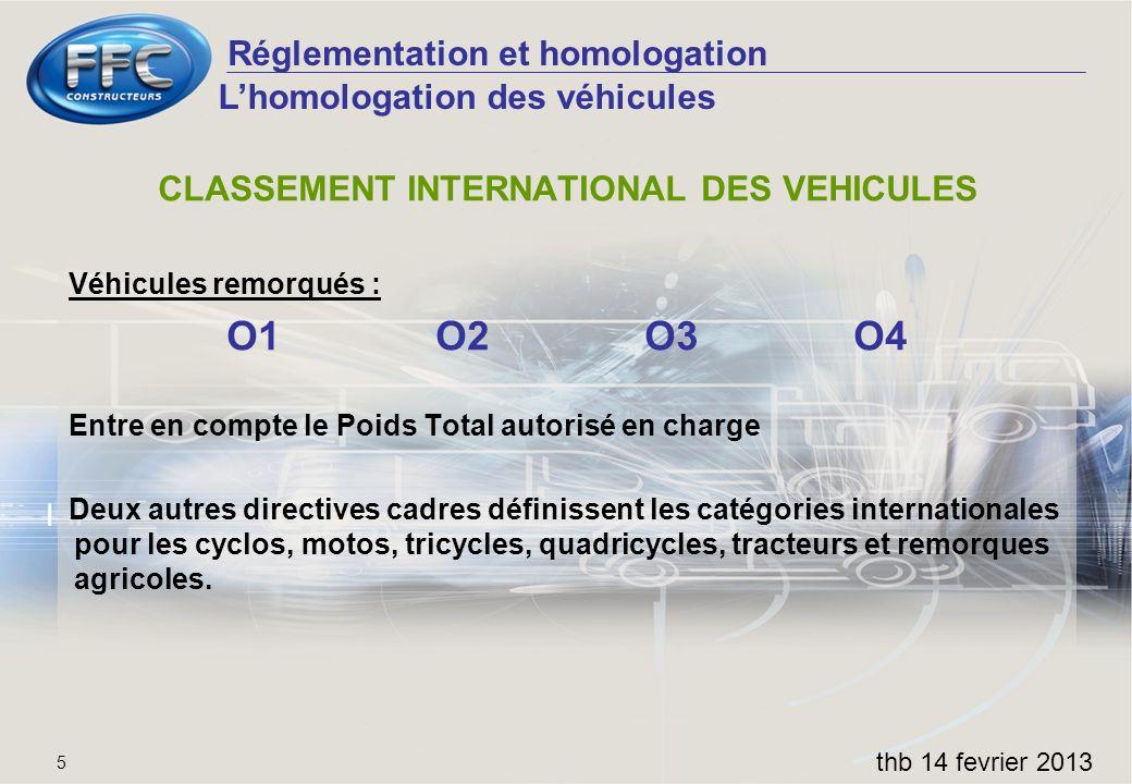 Réglementation et homologation thb 14 fevrier 2013 5 Lhomologation des véhicules CLASSEMENT INTERNATIONAL DES VEHICULES Véhicules remorqués : O1O2O3O4