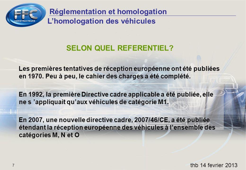 Réglementation et homologation thb 14 fevrier 2013 7 SELON QUEL REFERENTIEL? Les premières tentatives de réception européenne ont été publiées en 1970