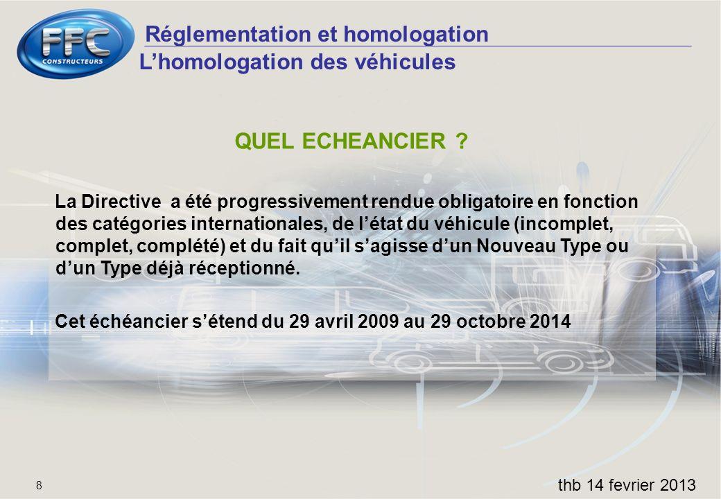 Réglementation et homologation thb 14 fevrier 2013 8 QUEL ECHEANCIER ? La Directive a été progressivement rendue obligatoire en fonction des catégorie