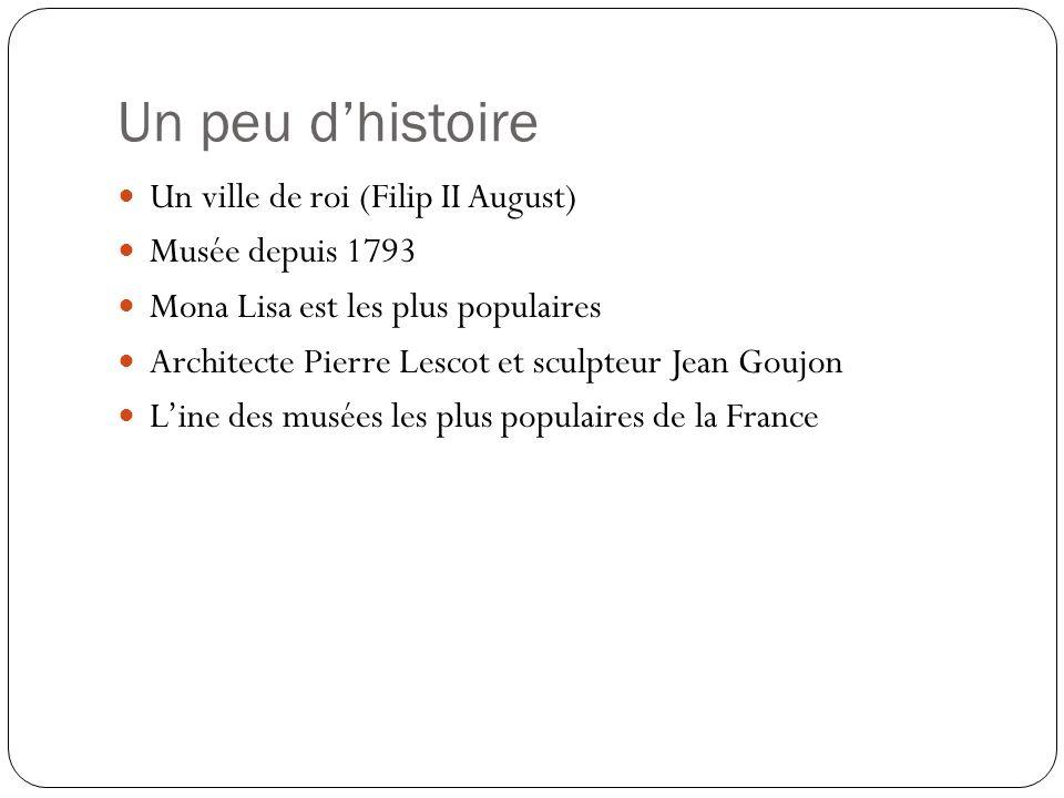 Un peu dhistoire Un ville de roi (Filip II August) Musée depuis 1793 Mona Lisa est les plus populaires Architecte Pierre Lescot et sculpteur Jean Goujon Line des musées les plus populaires de la France