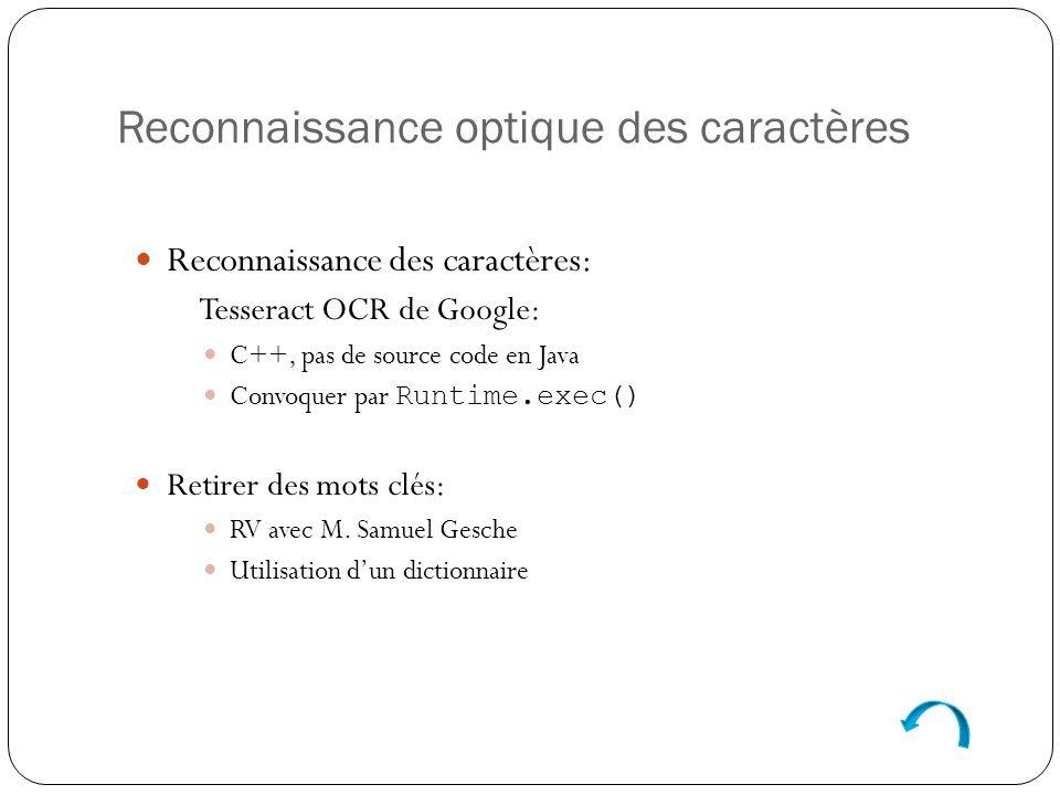 Reconnaissance optique des caractères Reconnaissance des caractères: Tesseract OCR de Google: C++, pas de source code en Java Convoquer par Runtime.exec() Retirer des mots clés: RV avec M.