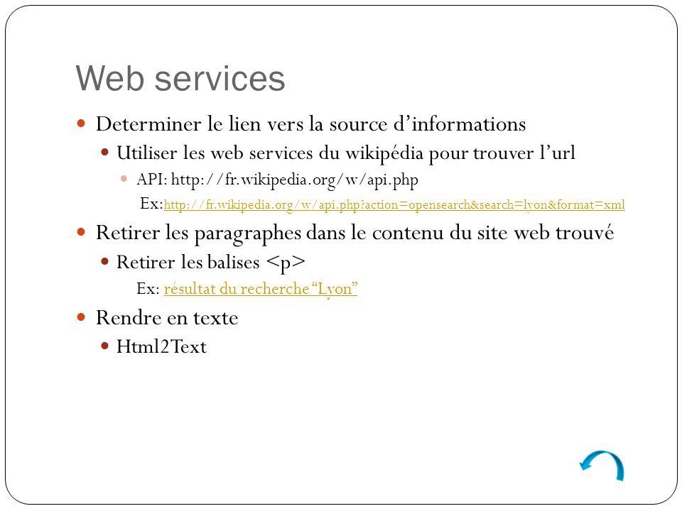 Web services Determiner le lien vers la source dinformations Utiliser les web services du wikipédia pour trouver lurl API: http://fr.wikipedia.org/w/api.php Ex: http://fr.wikipedia.org/w/api.php action=opensearch&search=lyon&format=xml http://fr.wikipedia.org/w/api.php action=opensearch&search=lyon&format=xml Retirer les paragraphes dans le contenu du site web trouvé Retirer les balises Ex: résultat du recherche Lyonrésultat du recherche Lyon Rendre en texte Html2Text