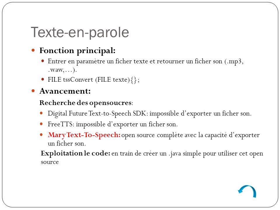 Fonction principal: Entrer en paramètre un ficher texte et retourner un ficher son (.mp3,.waw,…).