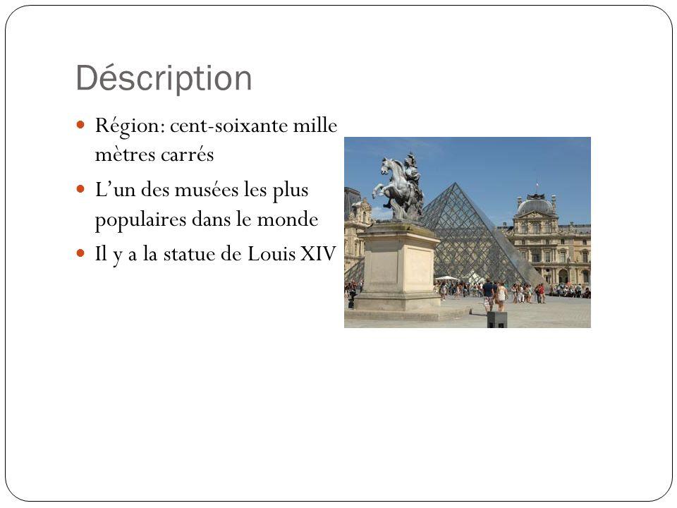 Déscription Région: cent-soixante mille mètres carrés Lun des musées les plus populaires dans le monde Il y a la statue de Louis XIV