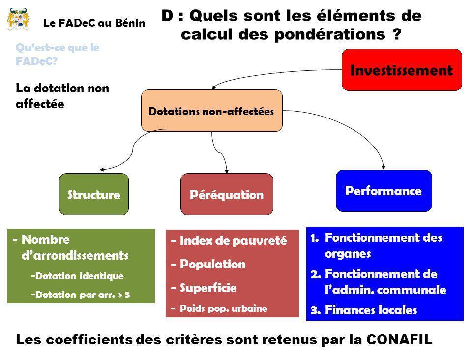 Le FADeC au Bénin La dotation non affectée Quest-ce que le FADeC? D : Quels sont les éléments de calcul des pondérations ? Investissement Dotations no