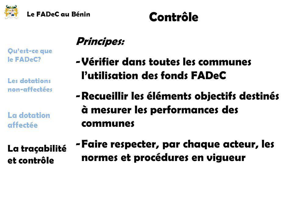 Le FADeC au Bénin Contrôle Principes: -Vérifier dans toutes les communes lutilisation des fonds FADeC -Recueillir les éléments objectifs destinés à me