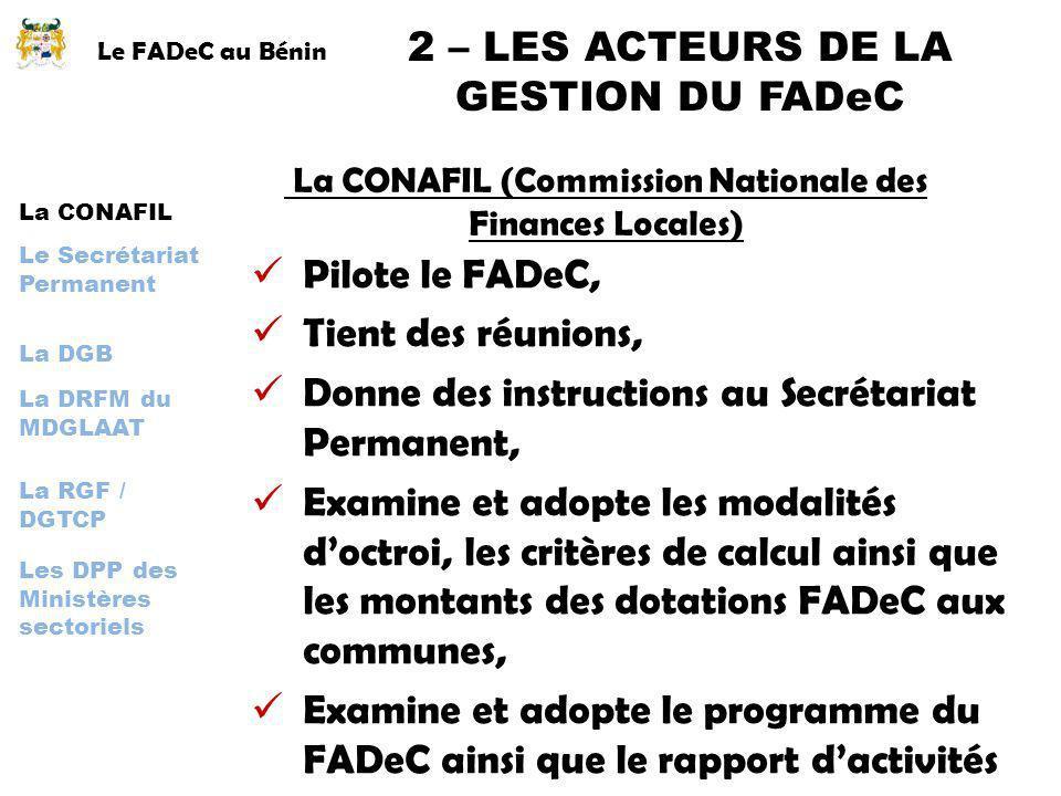 Le FADeC au Bénin 2 – LES ACTEURS DE LA GESTION DU FADeC La CONAFIL La DGB Le Secrétariat Permanent La DRFM du MDGLAAT La RGF / DGTCP Les DPP des Mini