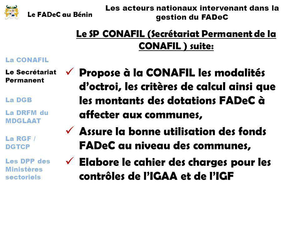 Le FADeC au Bénin Les acteurs nationaux intervenant dans la gestion du FADeC La CONAFIL La DGB Le Secrétariat Permanent La DRFM du MDGLAAT La RGF / DG