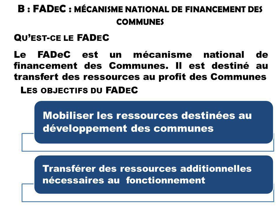 B : FAD E C : MÉCANISME NATIONAL DE FINANCEMENT DES COMMUNES Q U EST - CE LE FAD E C Le FADeC est un mécanisme national de financement des Communes. I