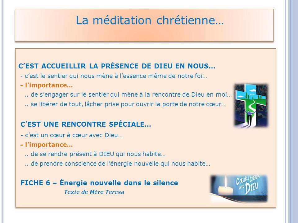 Aujourdhui même : Qui est-il ce DIEU ??.que nous voulons rencontrer dans la méditation???.