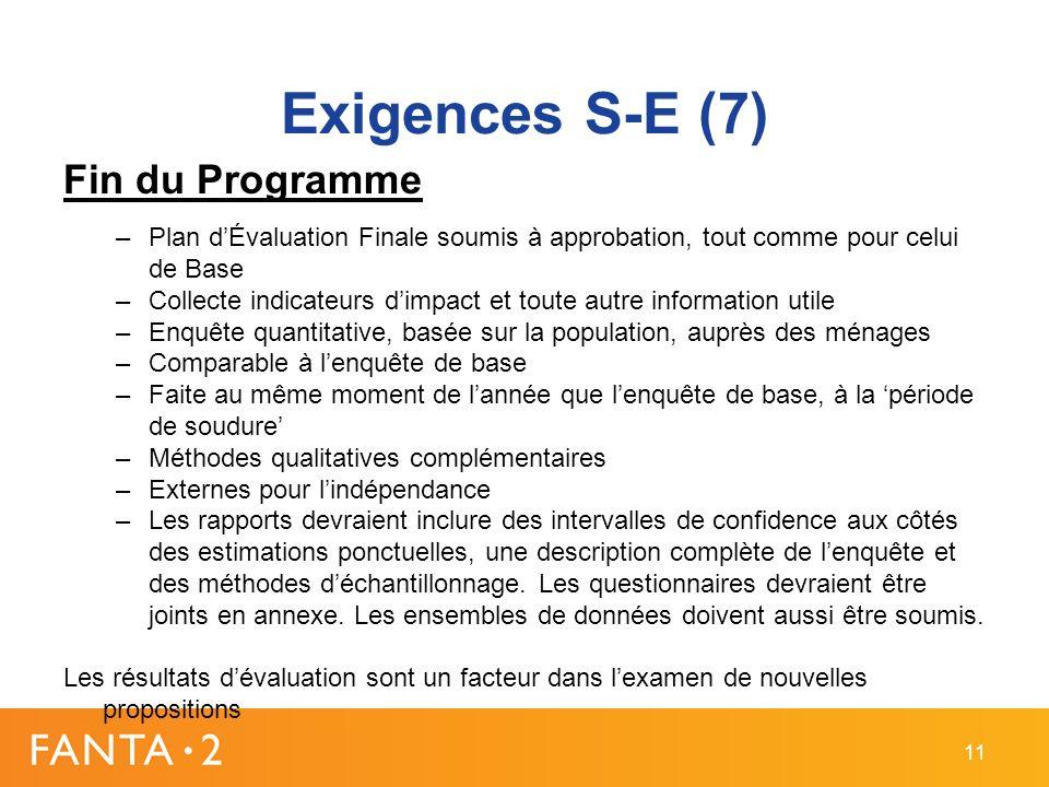 Exigences S-E (7) Fin du Programme –Plan dÉvaluation Finale soumis à approbation, tout comme pour celui de Base –Collecte indicateurs dimpact et toute