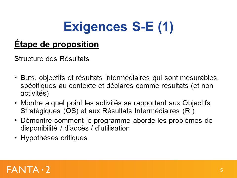 Exigences S-E (1) Étape de proposition Structure des Résultats Buts, objectifs et résultats intermédiaires qui sont mesurables, spécifiques au contexte et déclarés comme résultats (et non activités) Montre à quel point les activités se rapportent aux Objectifs Stratégiques (OS) et aux Résultats Intermédiaires (RI) Démontre comment le programme aborde les problèmes de disponibilité / daccès / dutilisation Hypothèses critiques 5