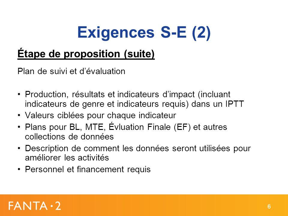 Exigences S-E (2) Étape de proposition (suite) Plan de suivi et dévaluation Production, résultats et indicateurs dimpact (incluant indicateurs de genr