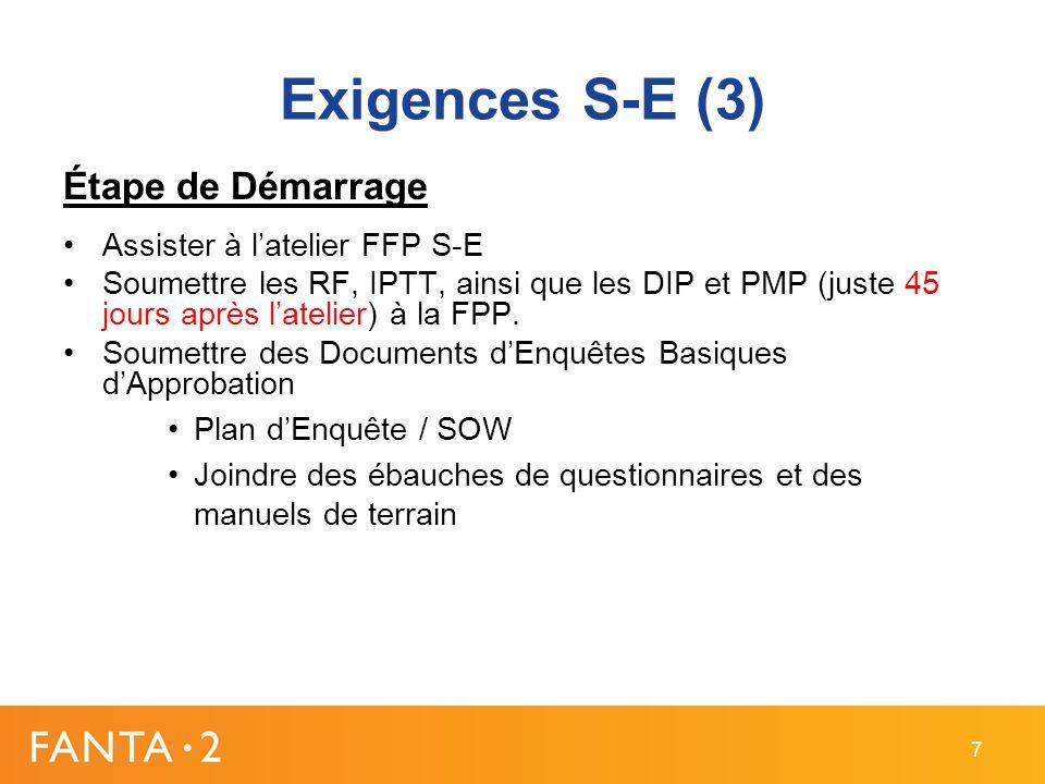 Exigences S-E (3) Étape de Démarrage Assister à latelier FFP S-E Soumettre les RF, IPTT, ainsi que les DIP et PMP (juste 45 jours après latelier) à la FPP.