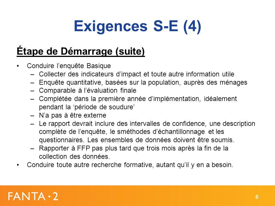 Exigences S-E (4) Étape de Démarrage (suite) Conduire lenquête Basique –Collecter des indicateurs dimpact et toute autre information utile –Enquête qu