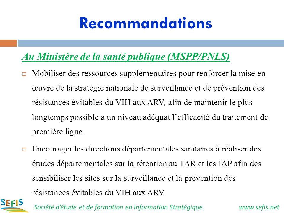 Recommandations Au Ministère de la santé publique (MSPP/PNLS) Mobiliser des ressources supplémentaires pour renforcer la mise en œuvre de la stratégie
