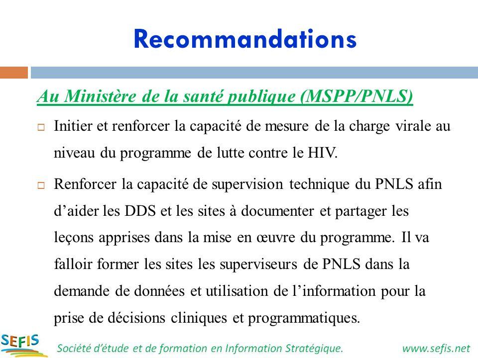 Recommandations Au Ministère de la santé publique (MSPP/PNLS) Initier et renforcer la capacité de mesure de la charge virale au niveau du programme de