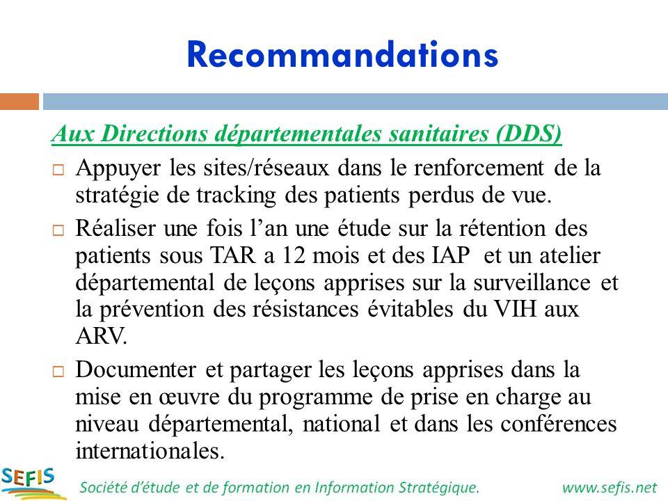 Recommandations Aux Directions départementales sanitaires (DDS) Appuyer les sites/réseaux dans le renforcement de la stratégie de tracking des patient