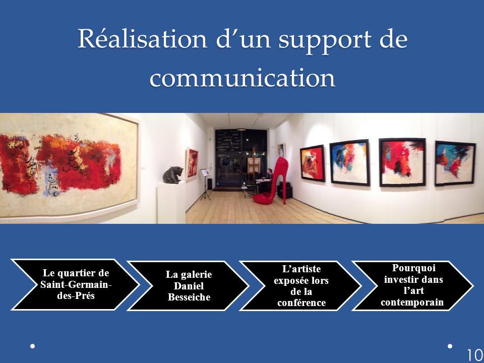 Réalisation dun support de communication Le quartier de Saint-Germain- des-Prés La galerie Daniel Besseiche Lartiste exposée lors de la conférence Pourquoi investir dans lart contemporain 10