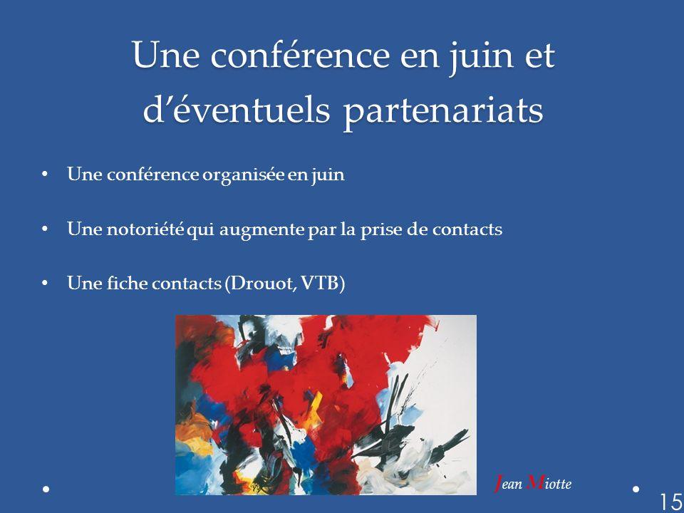 Une conférence en juin et déventuels partenariats Une conférence organisée en juin Une notoriété qui augmente par la prise de contacts Une fiche conta