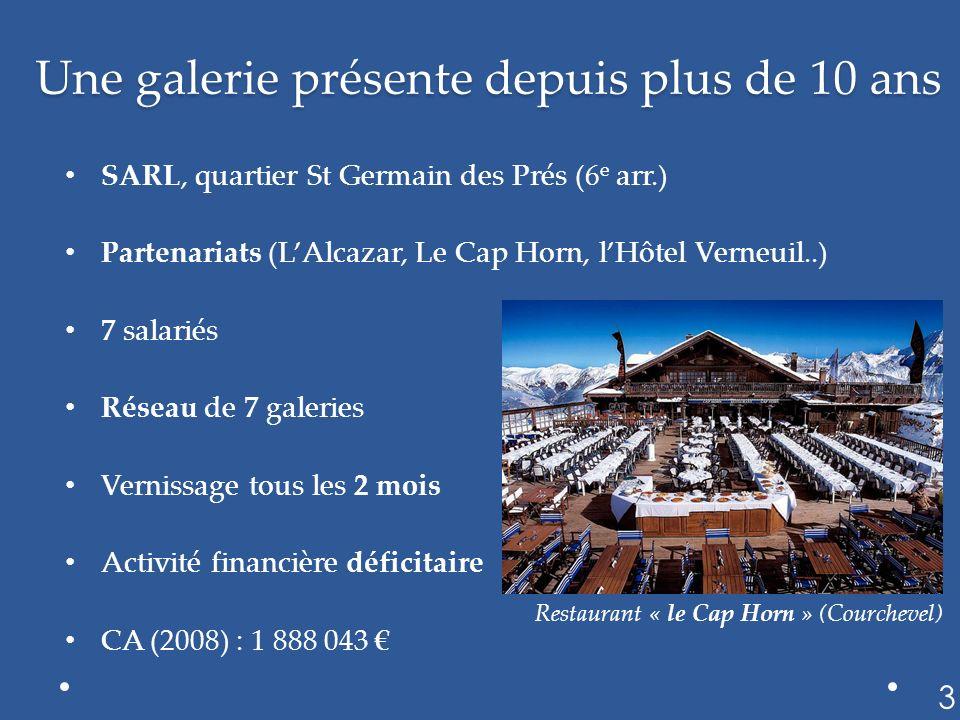 Une galerie présente depuis plus de 10 ans SARL, quartier St Germain des Prés (6 e arr.) Partenariats (LAlcazar, Le Cap Horn, lHôtel Verneuil..) 7 sal