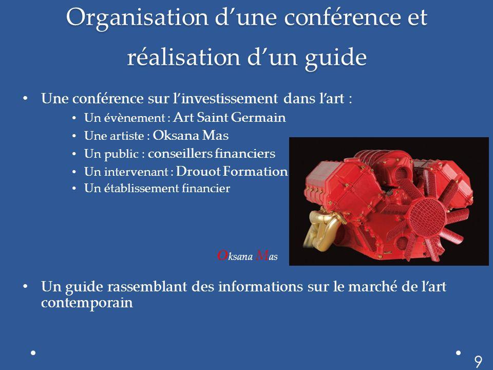 Organisation dune conférence et réalisation dun guide Une conférence sur linvestissement dans lart : Un évènement : Art Saint Germain Une artiste : Ok