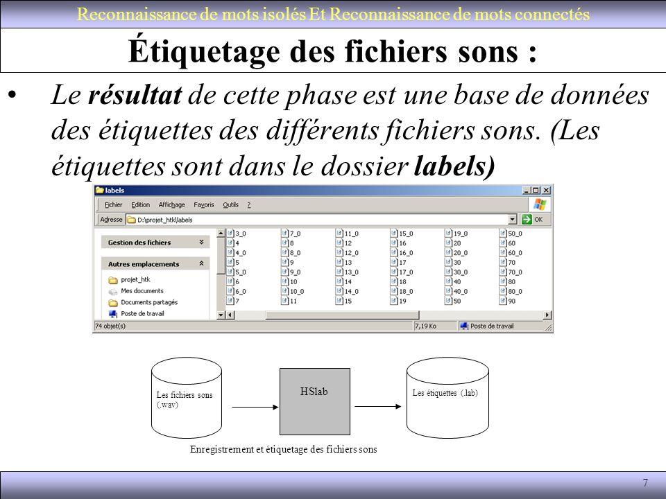 8 Représentation acoustique du signal : Reconnaissance de mots isolés Et Reconnaissance de mots connectés Hcopy Les fichiers sons (.wav) (hcopyliste.conf) Ihtif.wav Kallime.wav Amine.wav Les Fichiers MFCC ihtif.mfcc kallime.mfcc mohammed.mfcc etc Représentation acoustique du signal Fichier de configuration parametrisation.conf SOURCEFORMAT=WAVE TARGETKIND=MFCC_E_D WINDOWSSIZE=250000.0 TARGETRATE=10000.0 NUMCEPS=8 # nb de coeff MFCC USEHAMMING=T PREEMCOEF=0.97 NUMCHANS=26 CEPLIFTER=22 hcopyliste.conf signal/ihtif.wav mfcc/ihtif.mfcc signal/kallime.wav mfcc/kallime.mfcc signal/ala.wav mfcc/ala.mfcc signal/mohamed.wav mfcc/mohamed.mfcc.