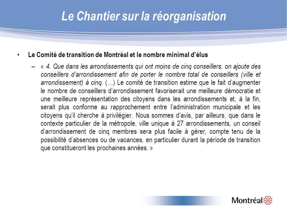 Le Chantier sur la réorganisation Le Comité de transition de Montréal et le nombre minimal délus –« 4.